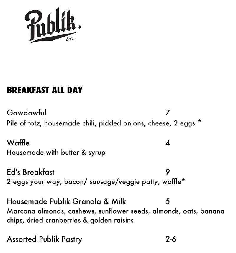Publik Ed's menu - breakfast all day