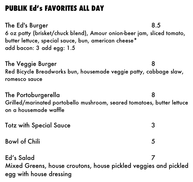 Publik Ed's menu - favorites all day