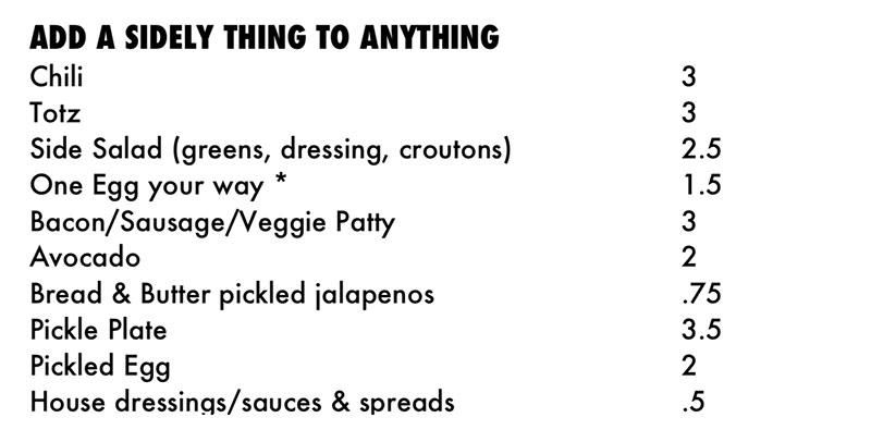 Publik Ed's menu - sides