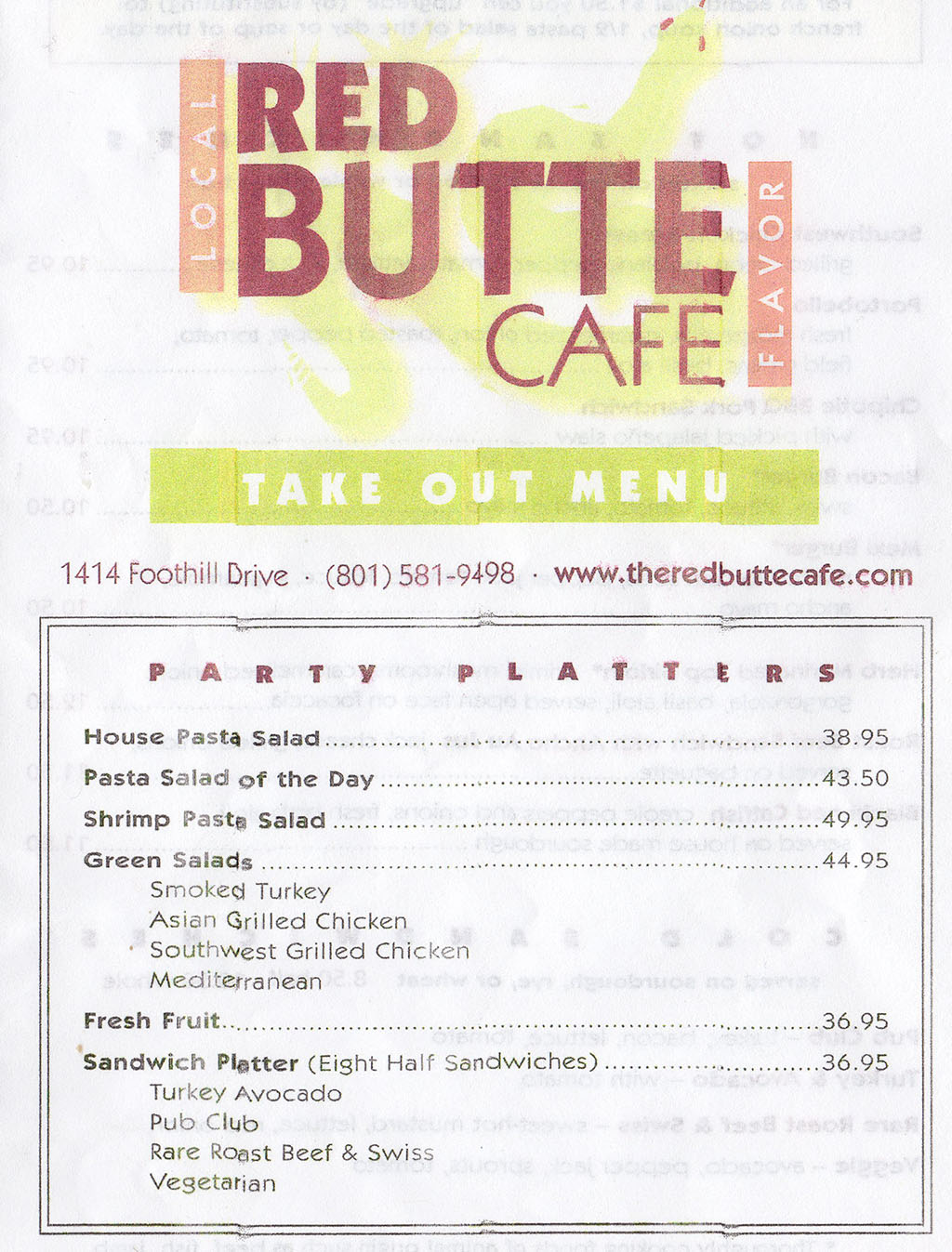 Red Butte Cafe menu - party platters