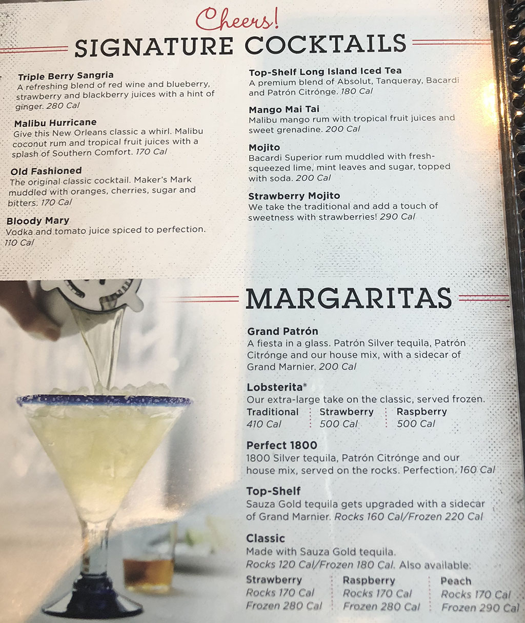 red lobster mixed drink menu - images lobster and fish