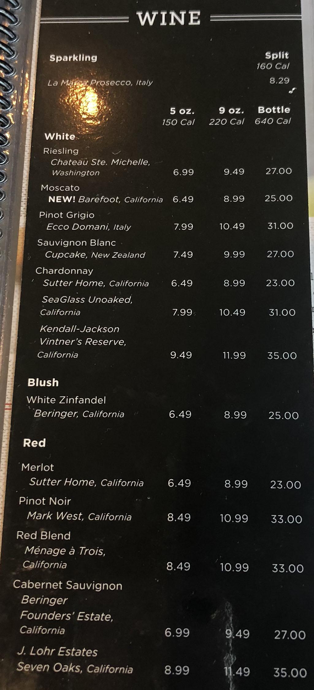 Red Lobster menu - beverages - wine