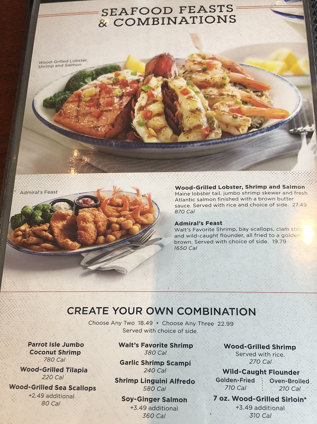 Red Lobster menu - entrees - combinations