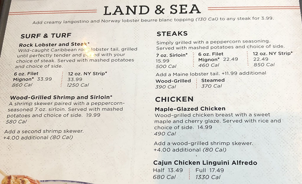 Red Lobster menu - entrees - land and sea