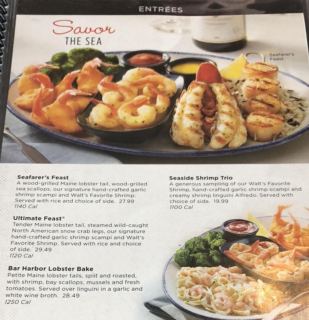 Red Lobster menu - entrees - savor the sea