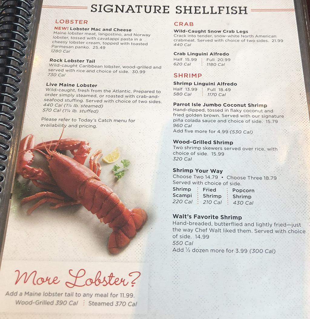 Red Lobster menu - entrees - signature shellfish