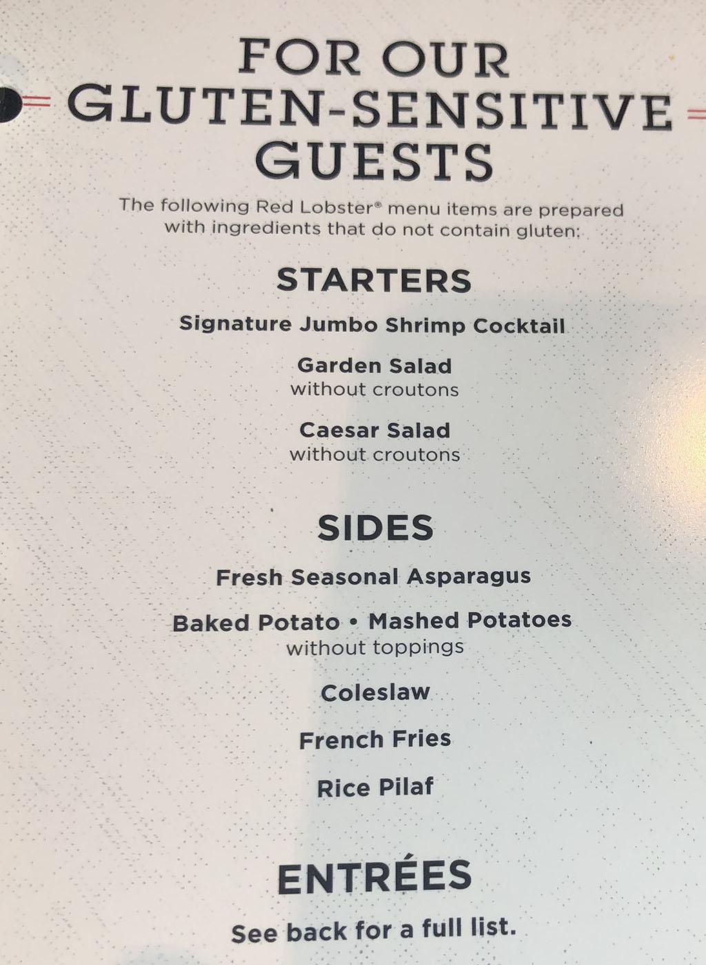 Red Lobster menu - gluten free options