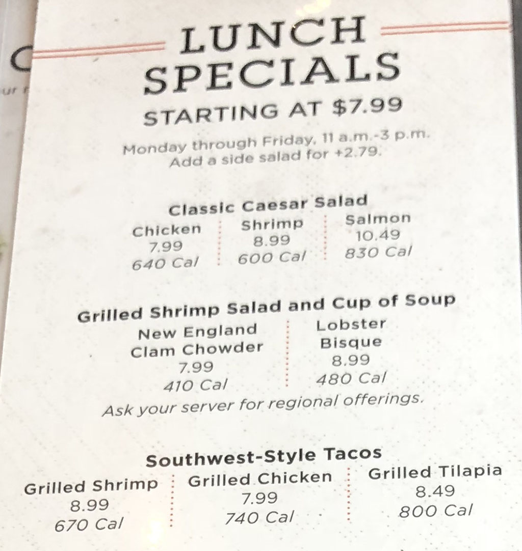 Red Lobster menu - lunch - lunch specials