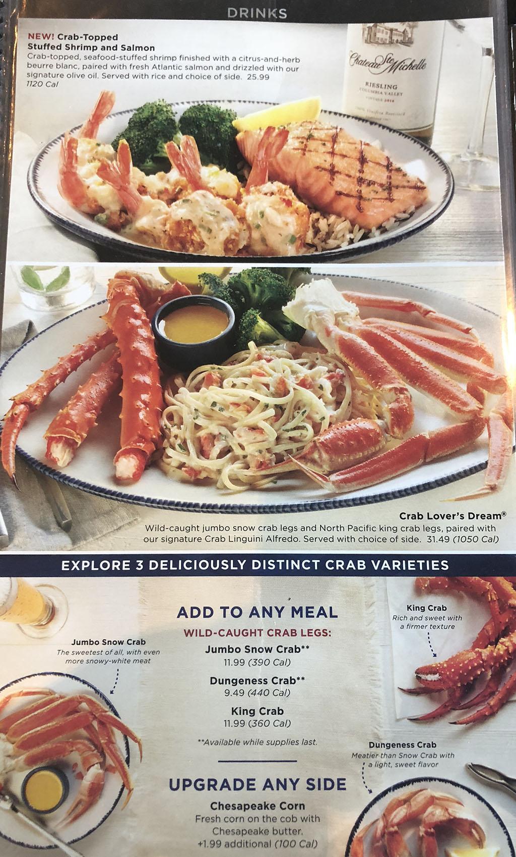 Red Lobster menu - more crabfest food specials
