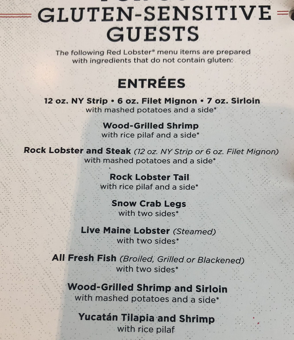 Red Lobster menu - more gluten free options
