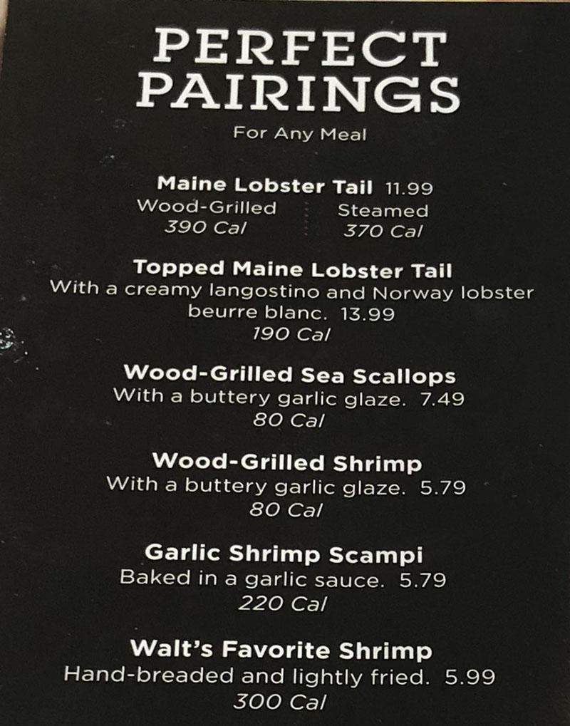 Red Lobster menu - perfect pairings