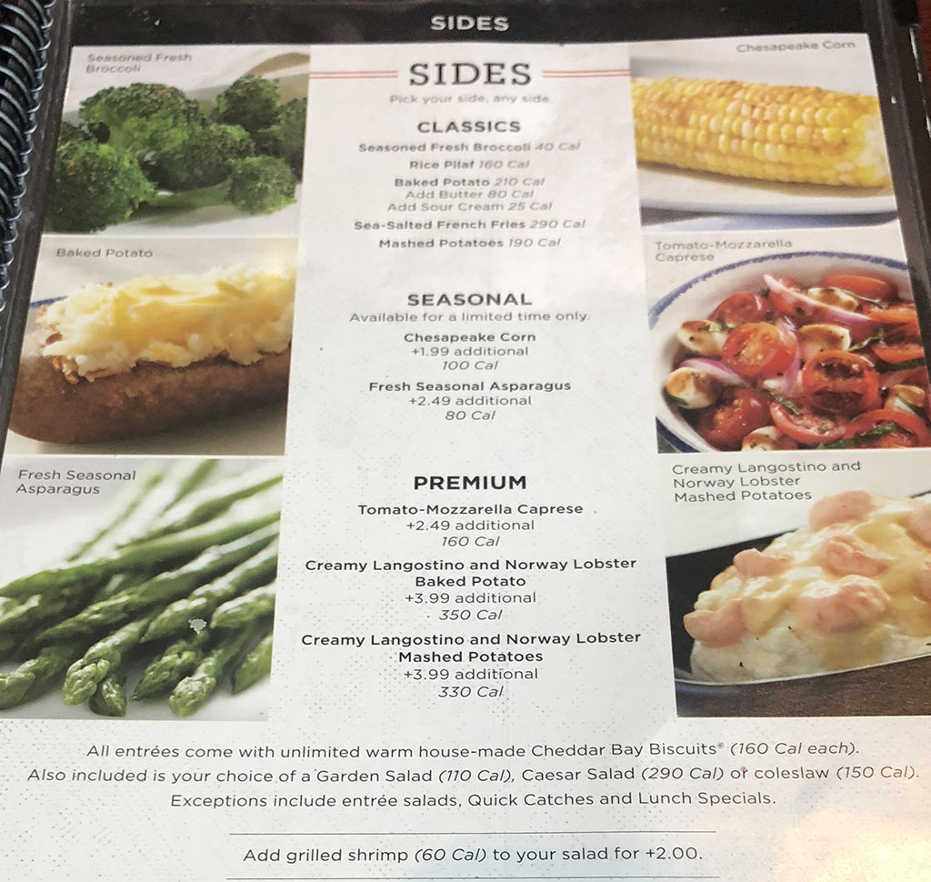 red lobster menu with s slc