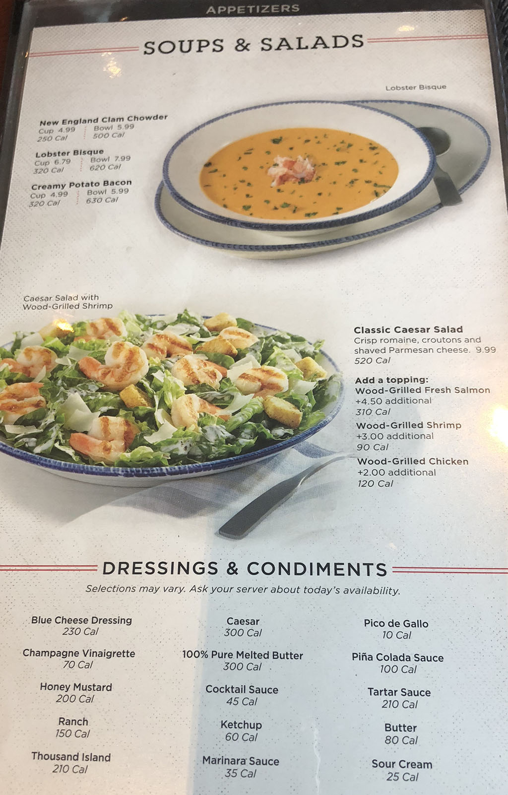 Red Lobster menu - appetizers - soups, salads, dressings, condiments