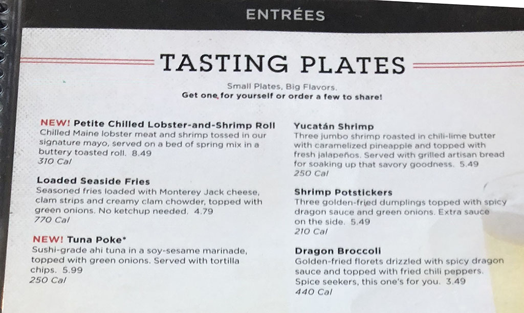 Red Lobster menu - tasting plates