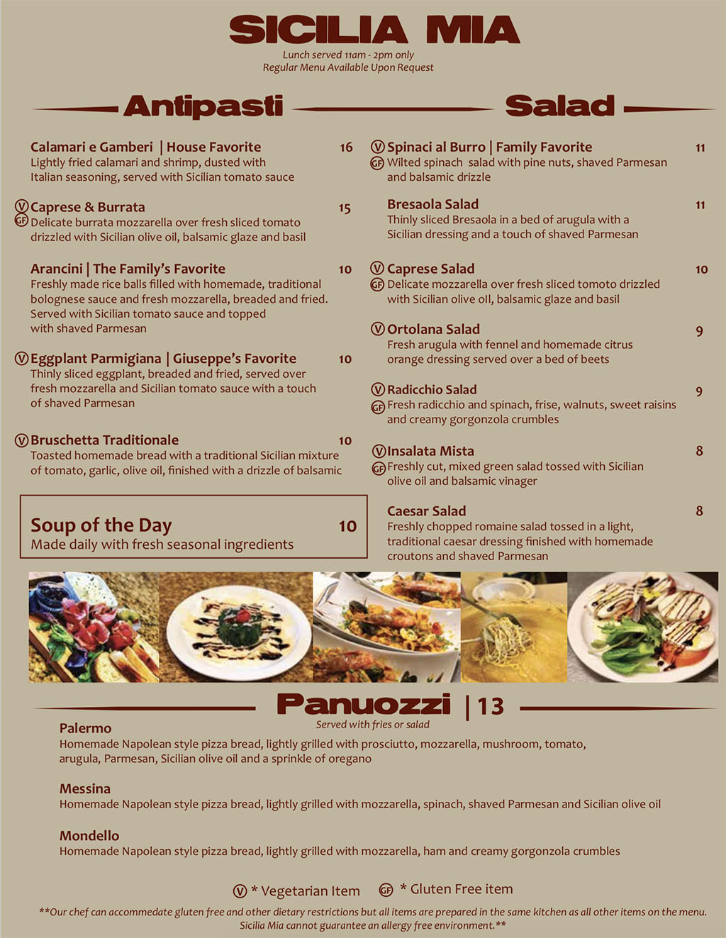 Sicilia Mia lunch menu - appetizers, salad, soup, panuozzi