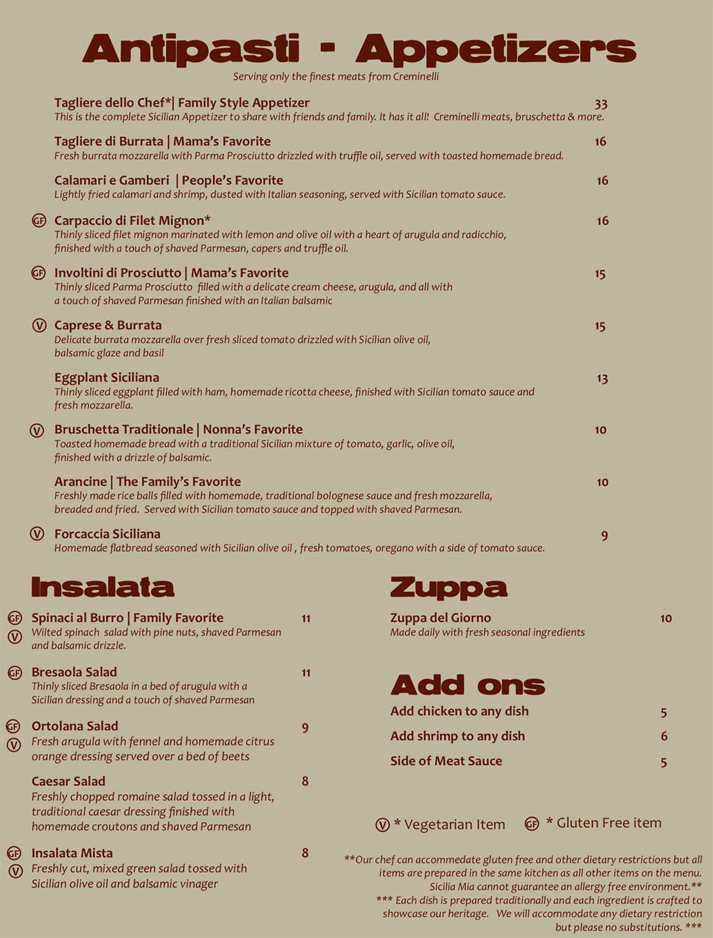 Sicilia Mia menu - appetizers, soup, salad, add ons