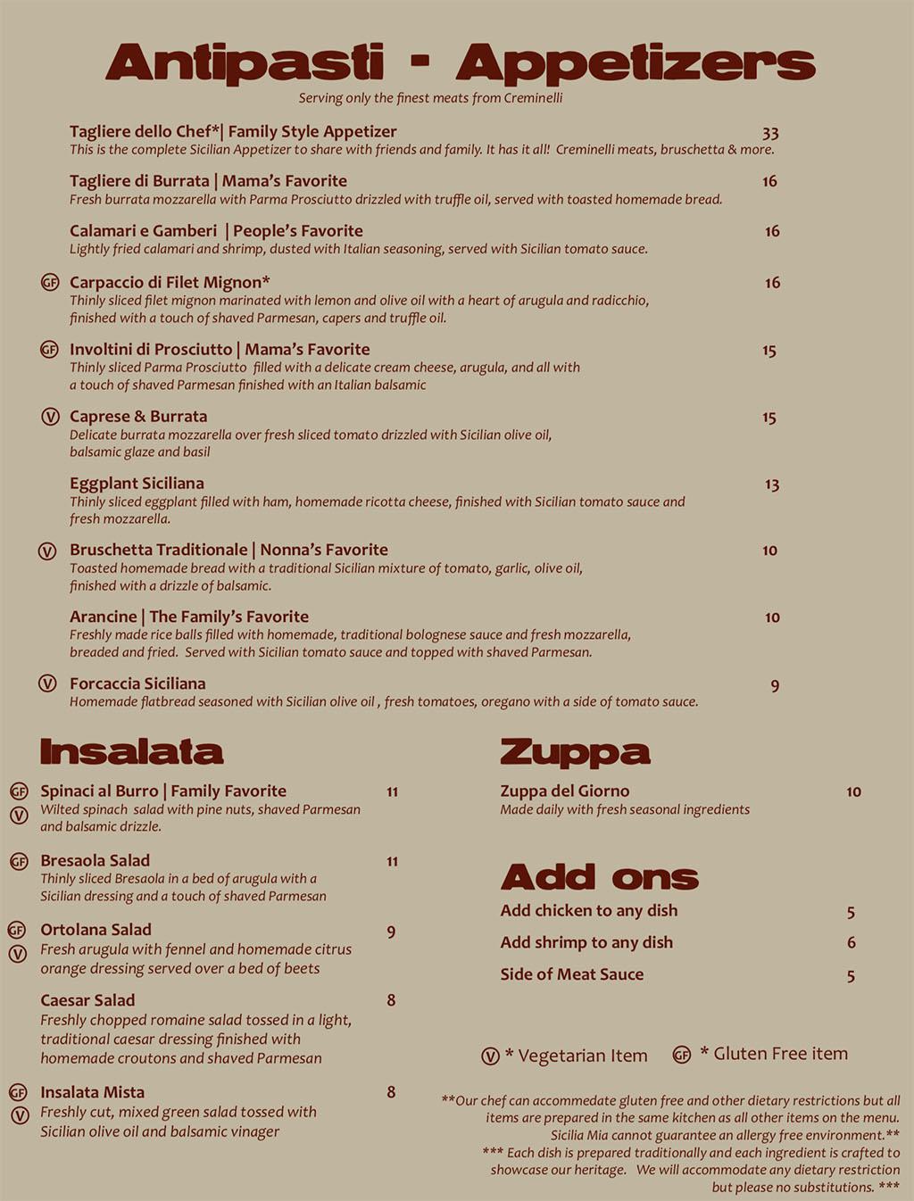 Sicilia Mia menu - appetizers, soup, salad, add ons