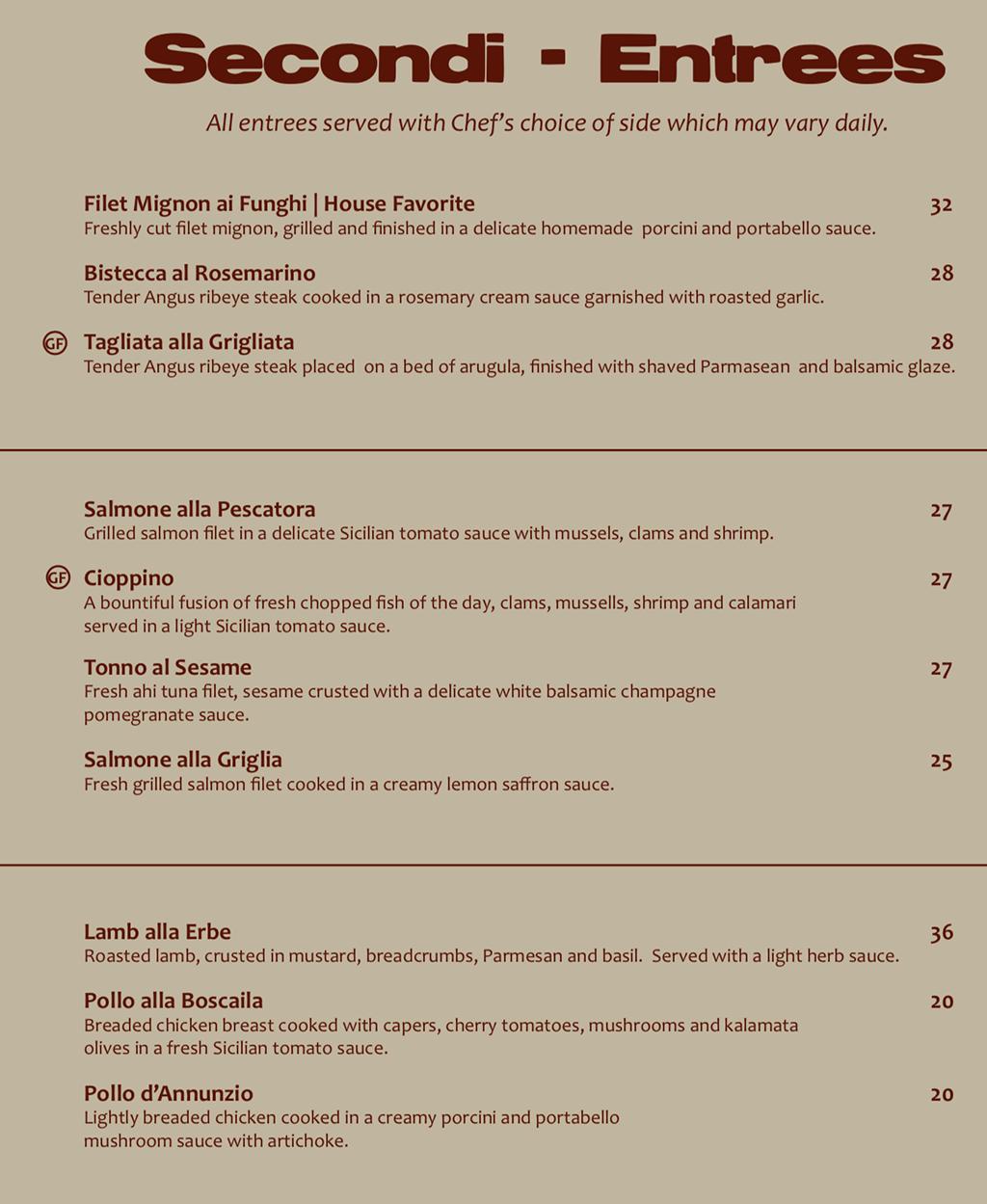 Sicilia Mia menu - entrees