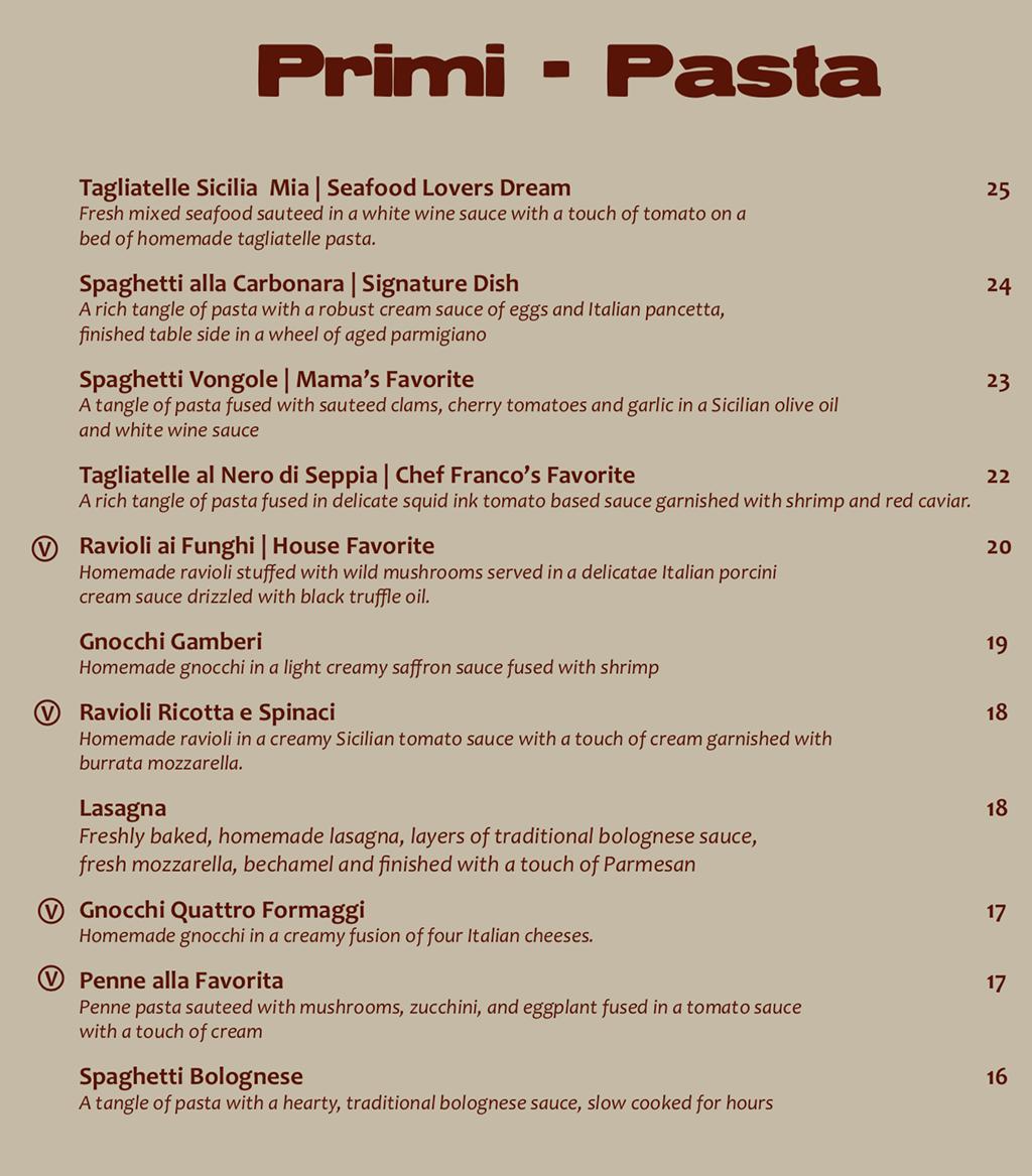 Sicilia Mia menu - pasta