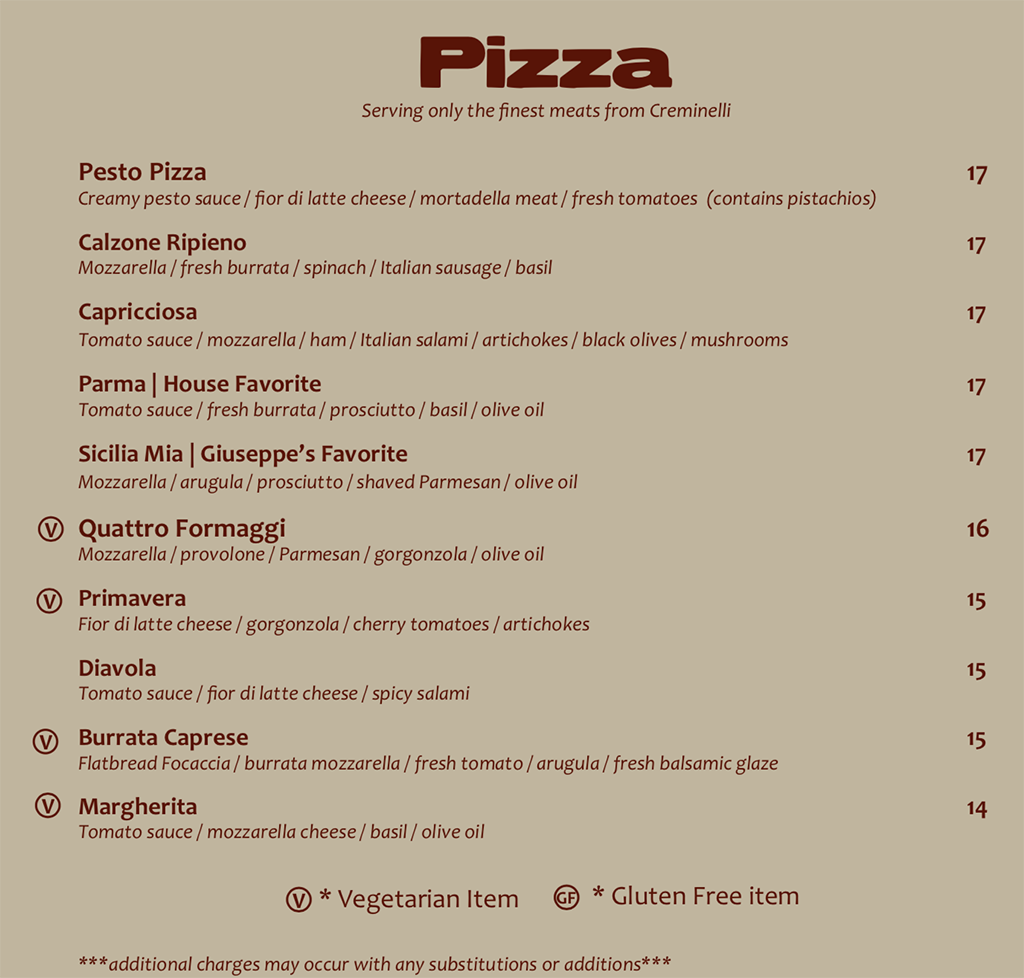 Sicilia Mia menu - pizza