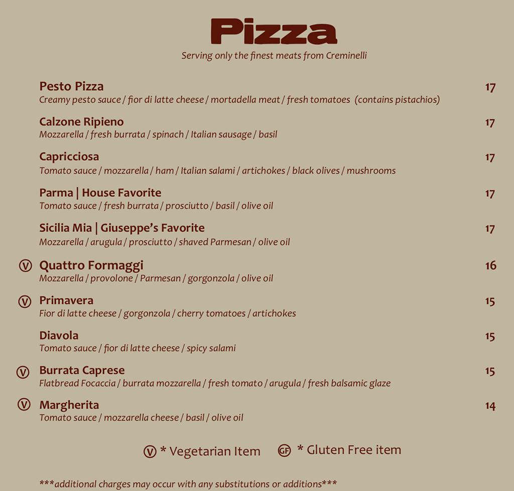 Sicilia Mia menu - pizza