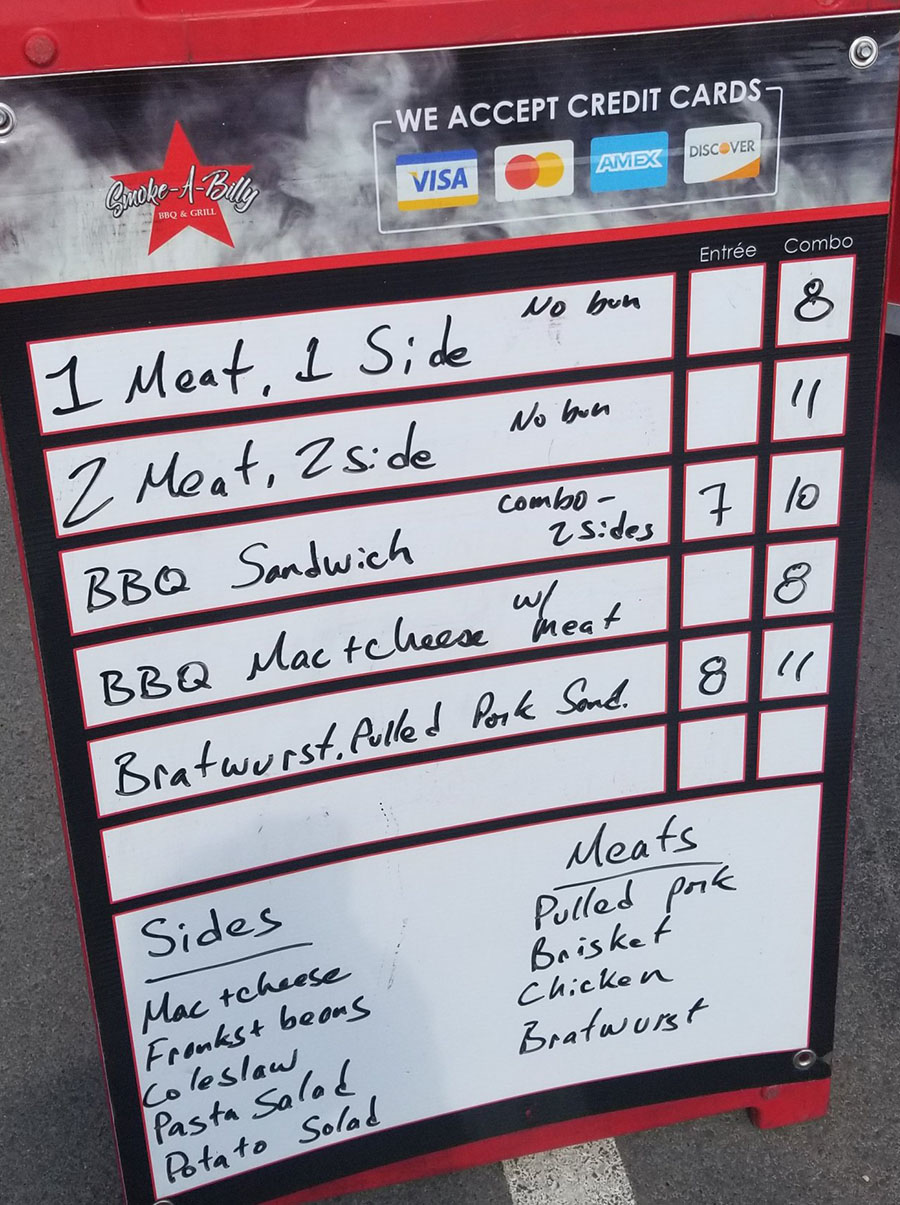 Smoke A Billy BBQ food truck menu