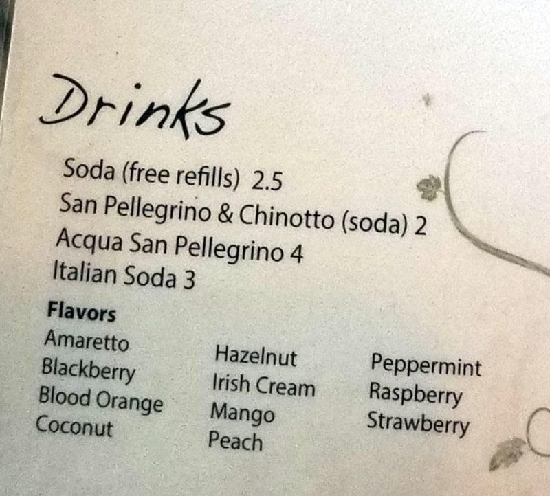Terra Mia menu - drinks