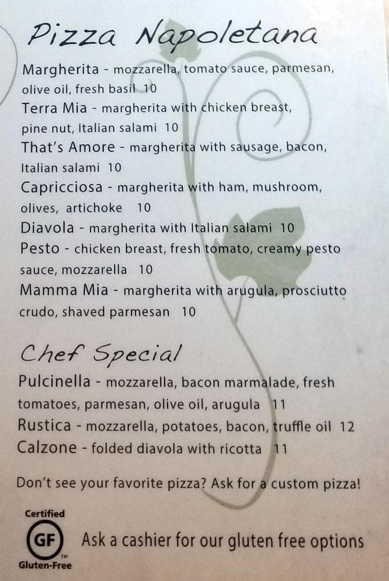 Terra Mia menu - pizz napolenta, chef special
