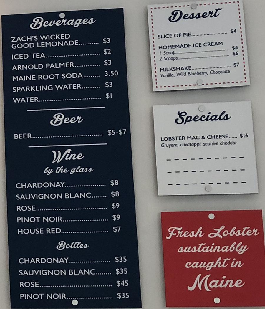 Freshies Lobster Co menu - beverages, beer, wine, dessert, specials