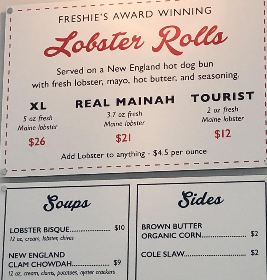 Freshies Lobster Co menu - lobster rolls, soups, sides