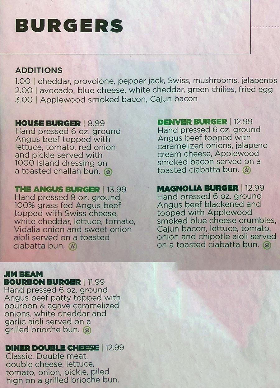 Green Pig Pub menu - burgers