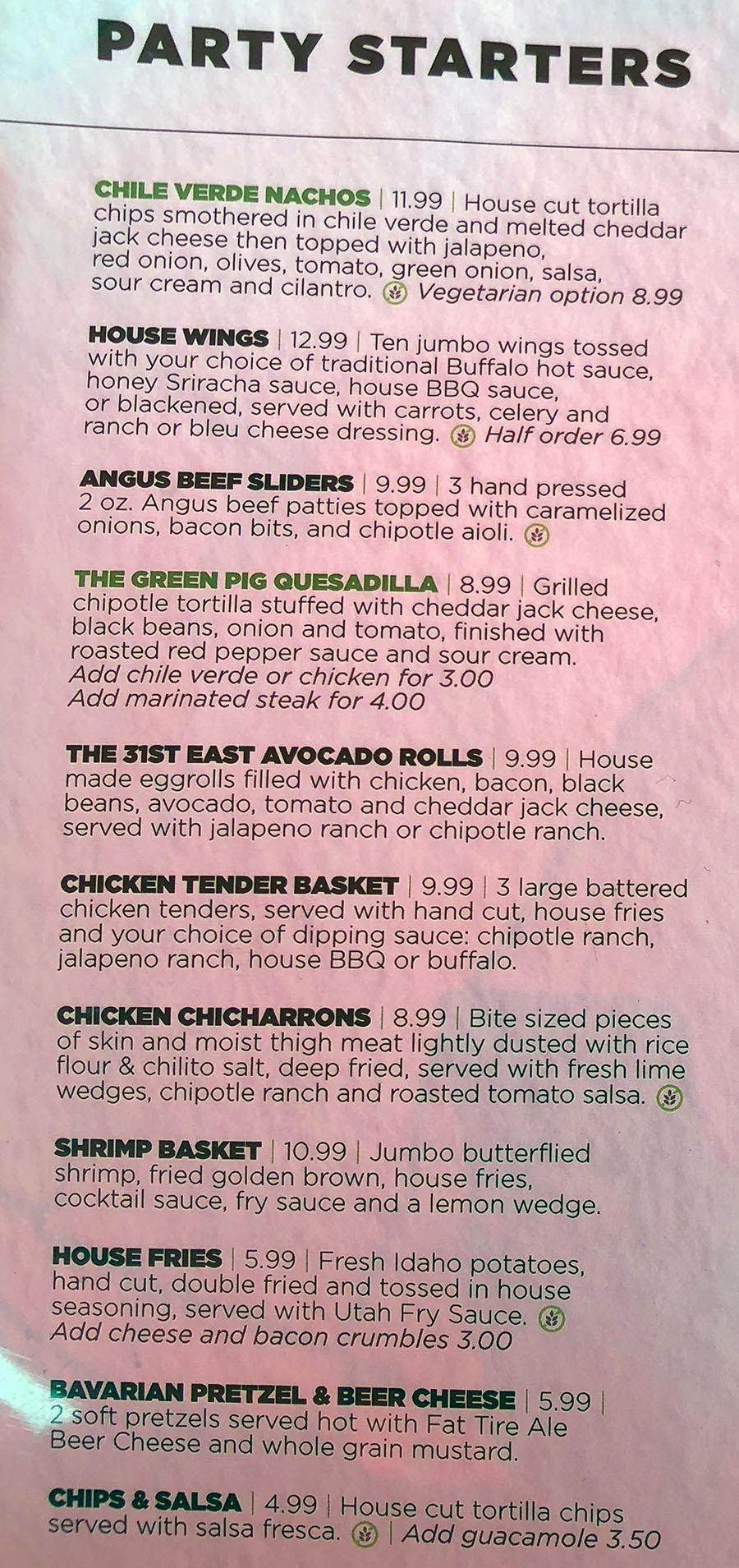 Green Pig Pub menu - party starters