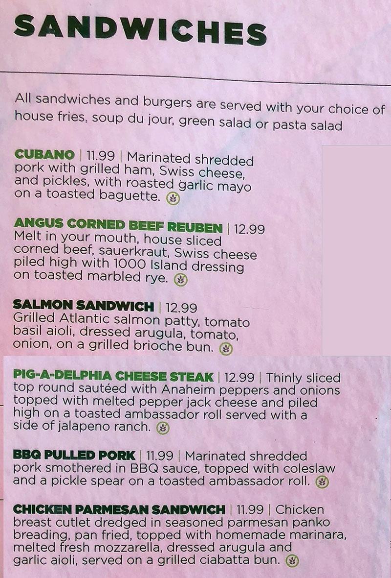 Green Pig Pub menu - sandwiches