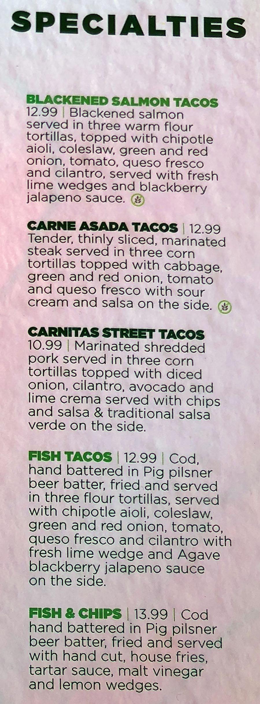 Green Pig Pub menu - specialties
