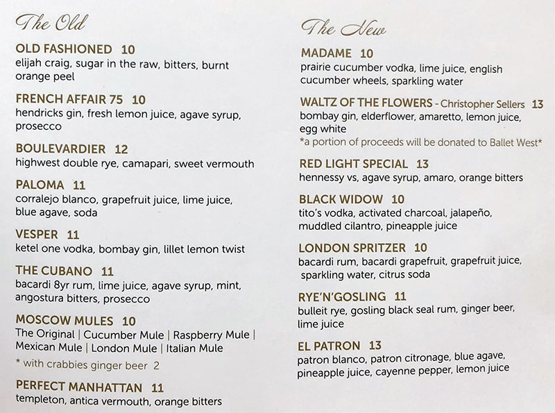 London Belle menu - cocktails