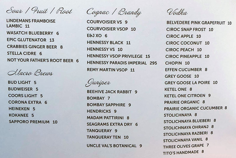 London Belle menu - sours, beer, brandy, gin, vodka