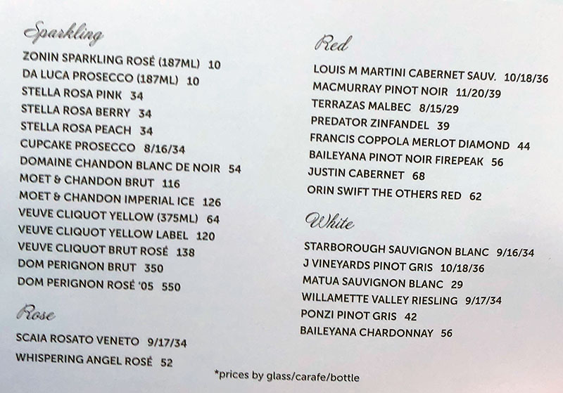 London Belle menu - wine