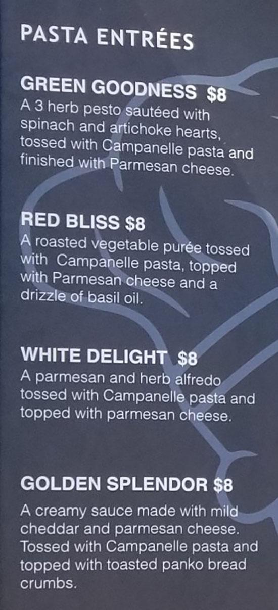 Sauce Boss menu - pasta