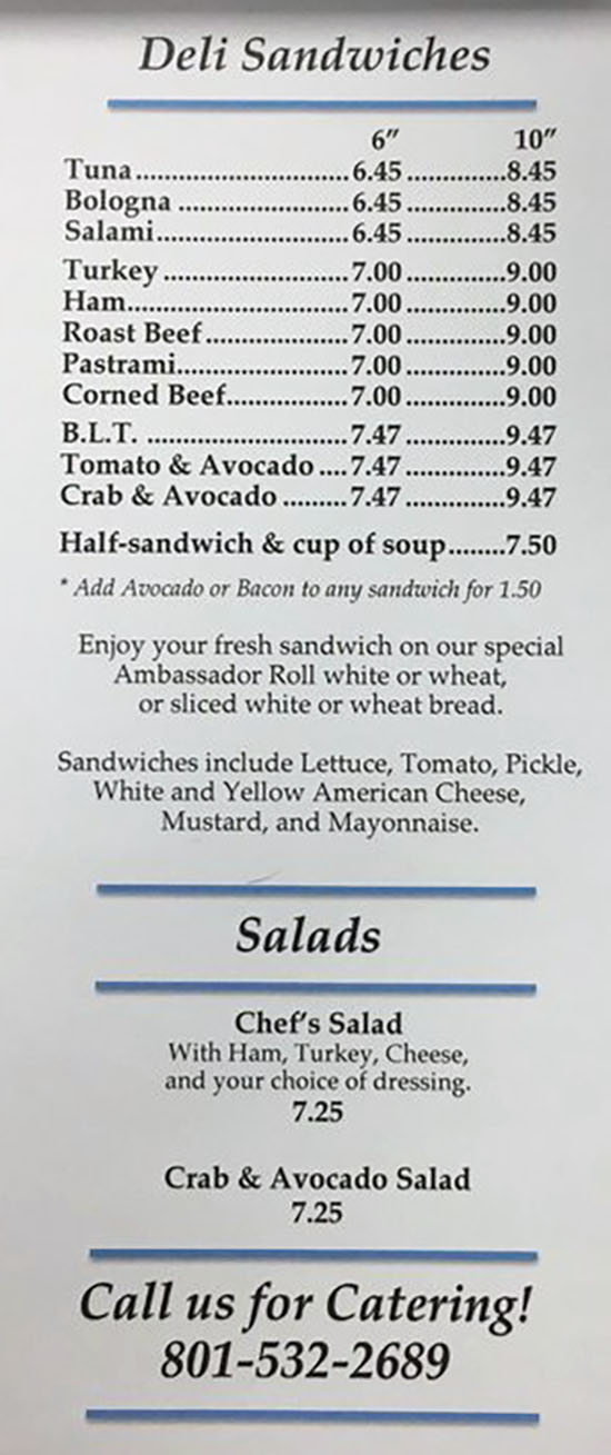 That Sandwich Shop menu - deli sandwiches, salads