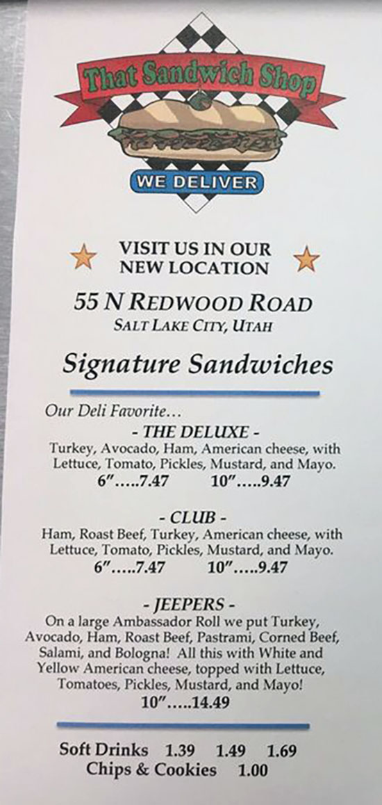 That Sandwich Shop menu - signature sandwiches