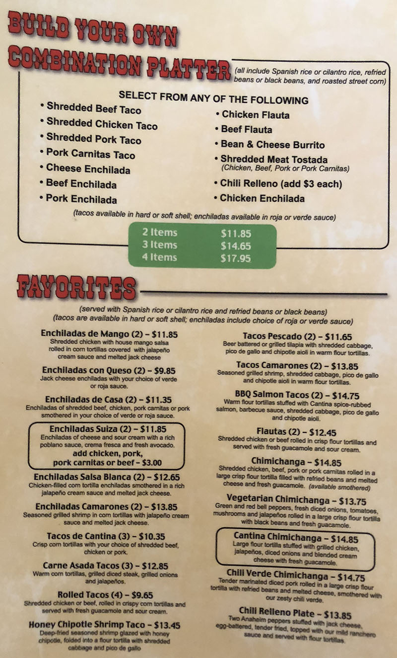 Cantina Southwestern Grill menu - build your own combo, favorites