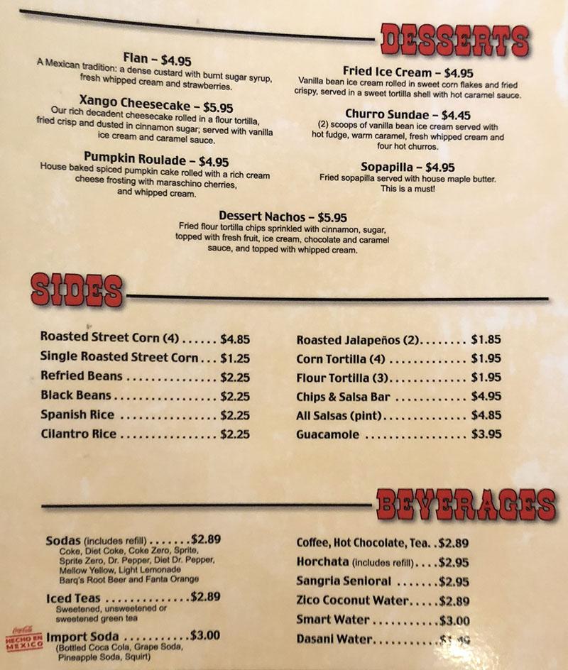 Cantina Southwestern Grill menu - desserts, sides, beverages