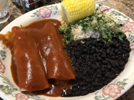 Cantina Southwestern Grill menu - enchiladas with rice, beans and corn