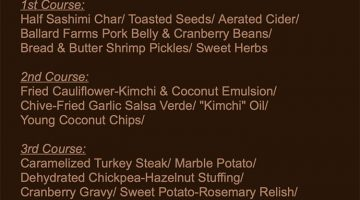 Francks Thanksgivimg 2018 menu