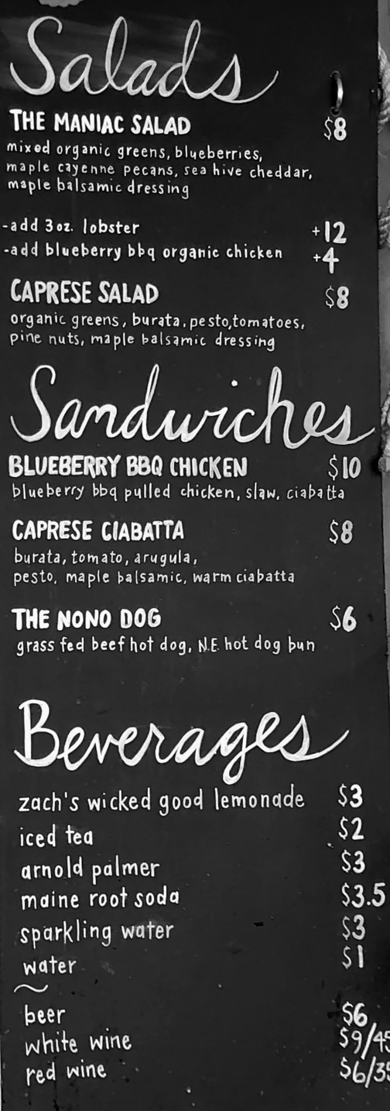 Freshies Park City menu - salads, sandwiches, beverages