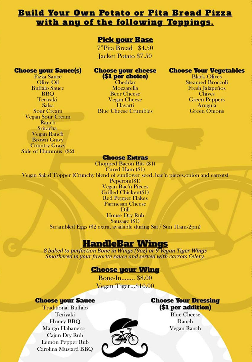 HandleBar menu - pita bread pizza, wings