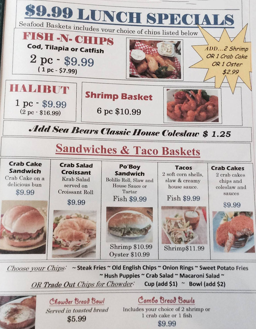 Sea Bears Fish House menu - lunch specials
