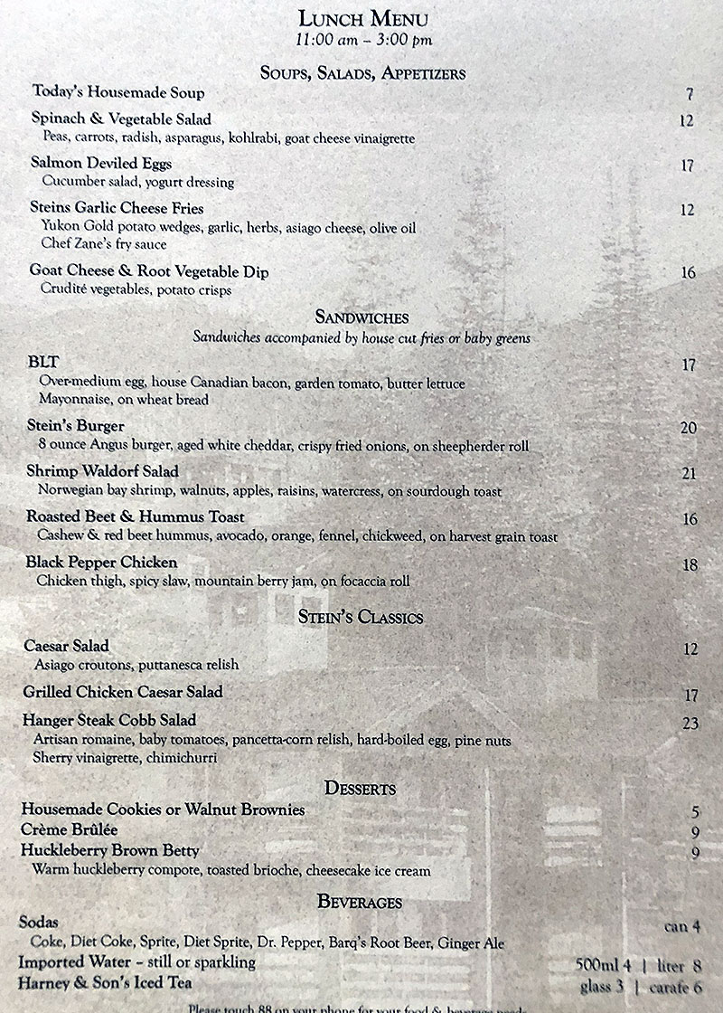 Stein Eriksen Lodge room menu - lunch