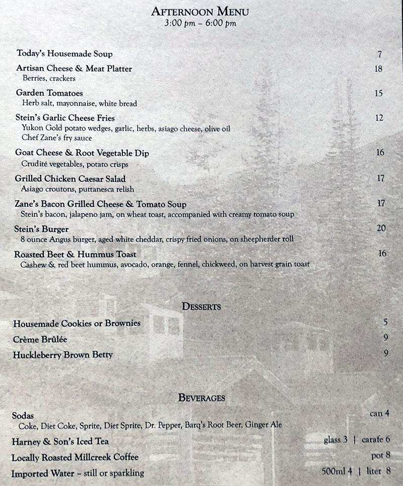 Stein Eriksen Lodge room service menu - afternoon menu
