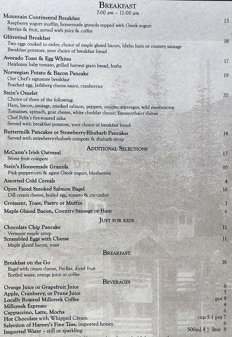 Stein Eriksen Lodge room service menu - breakfast